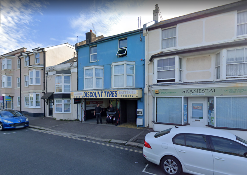 The garage in Bognor Regis seen in the background of the picture in the album above.