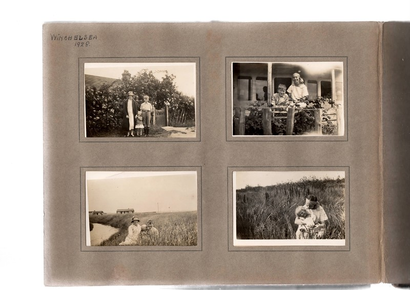 Top left; Agnes Bowles?, Vera Bowles (age 3) & Herbert Bowles (age 14).<br /> Bottom left; Agnes Bowles, Vera Bowles & Herbert Bowles staying in railway carriage cottages which are still there on Winchelsea beach!<br /> Top right; Herbert Bowles & Agnes Bowles.<br /> Bottom right; Vera Bowles & Agnes Bowles.