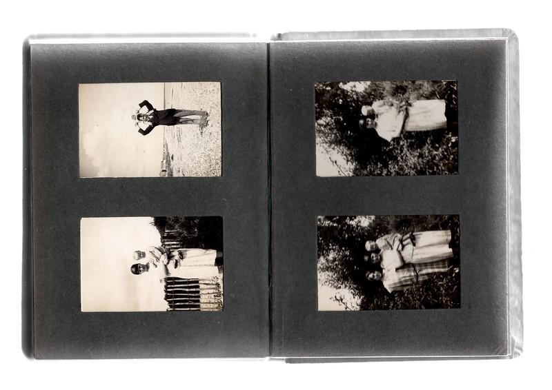Top left; Vera Bowles on shoulders of ?.<br /> Bottom left; Agnes Bowles holding Vera Bowles.<br /> Top right; Agnes Bowles holding Vera Bowles.<br /> Bottom right; ?, Agnes Bowles holding Vera Bowles.