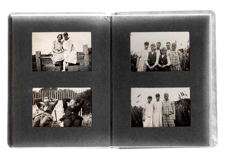 Top left; ? & Agnes Bowles.<br /> Bottom left; ? & ?.<br /> Top right; Agnes Bowles, ?, ?, ?, ? & ?.<br /> Bottom right; ?, Agnes Bowles & ?.