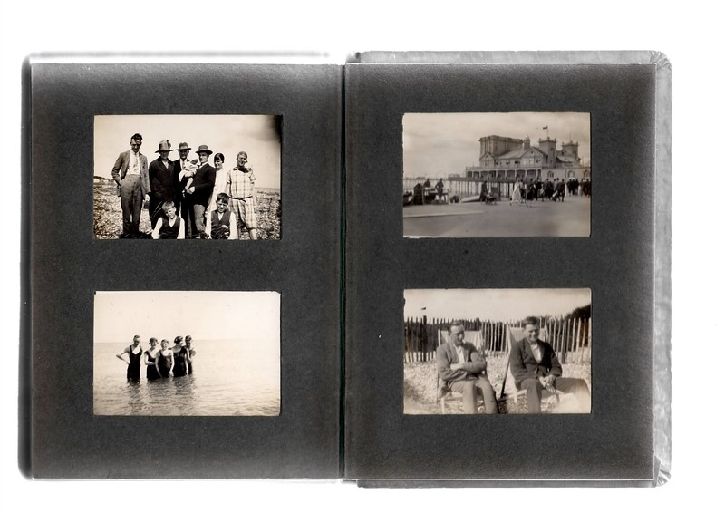 Top left; ?, ?, ?, ?, Vera Bowles, ?, Agnes Bowles, ? & ?.<br /> Bottom left; ?, ?, ?, ? & ?.<br /> Top right; Where's this pier?<br /> Bottom right; ? & ?.