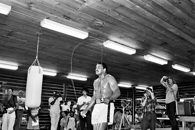 Muhammad Ali training at his Training Camp in Deer Lake, PA. September 1980