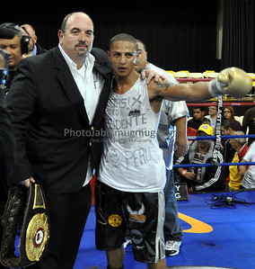 "Mike Indri of DIGNITY PROMOTIONS (NJ) (201) 741-4994 www.dignityboxing.com with Jonathan ""The Cobra"" Maicelo after the Union City win on 10/16/10."