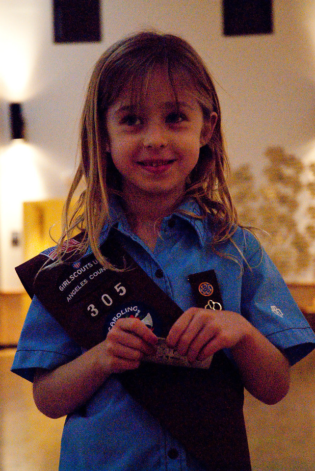 REDONDO BEACH , CALIFORNIA — Annette becomes an official Brownie in the Parish Hall at St. Lawrence Martyr. Photo taken by Tom Sorensen February 5th, 2009.