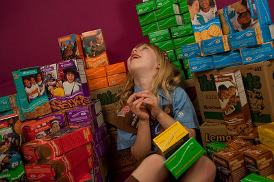 "REDONDO BEACH , CALIFORNIA Ñ Annette poses with the 110 Girl Scout cookie boxes she sold in her first year as a Brownie. The ""studio"" was in the Sorensen living room. Photo by Tom Sorensen Saturday February 28th, 2009."