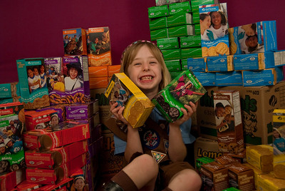 "REDONDO BEACH , CALIFORNIA — Annette poses with the 110 Girl Scout cookie boxes she sold in her first year as a Brownie. The ""studio"" was in the Sorensen living room. Photo by Tom Sorensen Saturday February 28th, 2009."