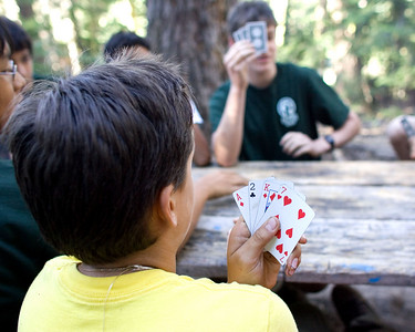 Card games were popular during afternoon free time.