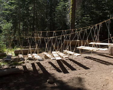 The rope and plank bridge.