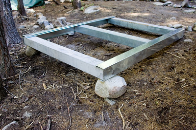 A mock-up of the new metal tent platforms.  This one will need some brackets, a couple of braces down the middle, and its wooden deck before it's ready for a tent.