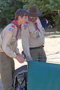 Time to get to camp!  Mr. R. offers some suggestions for a difficult tent site.