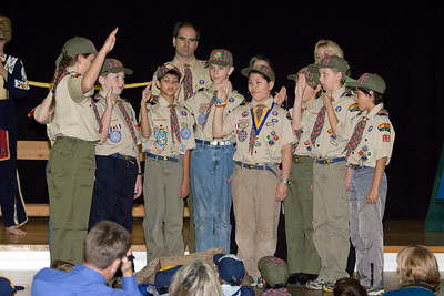 The Webelos publically recite the Boy Scout Oath and Boy Scout Law for the first time.