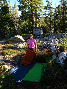 Amy and I found a perfect little flat area for sleeping under the stars.  The Scouts set up under the trees behind Amy.  Amy's file:  I learned poison oak doesn't typically grow above 6,000'