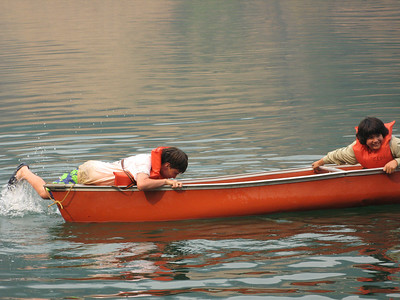 There's more than one way to get into a canoe.