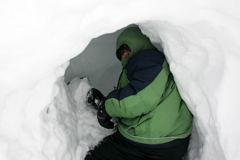 It's hard to get the snow you are digging out past your body.