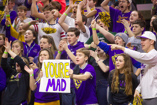 Record-Eagle/Brett A. Sommers Frankfort's student section cheers during Thursday's Division 4 state semifinal boys basketball game against Tri-unity Christian at the Breslin Center in East Lansing.