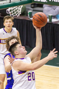 Record-Eagle/Brett A. Sommers Frankfort's Jack Reznich attempts a layups during Thursday's Division 4 state semifinal boys basketball game against Tri-unity Christian at the Breslin Center in East Lansing.