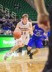 Record-Eagle/Brett A. Sommers Frankfort's Will Newbold dribbles the ball during Thursday's Division 4 state semifinal boys basketball game against Tri-unity Christian at the Breslin Center in East Lansing.