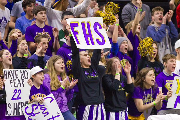 Record-Eagle/Brett A. Sommers Frankfort's student section cheers the Panthers during Thursday's state semifinal game against Tri-unity Christian at the Breslin Center in East Lansing. Frankfort won 44-43.