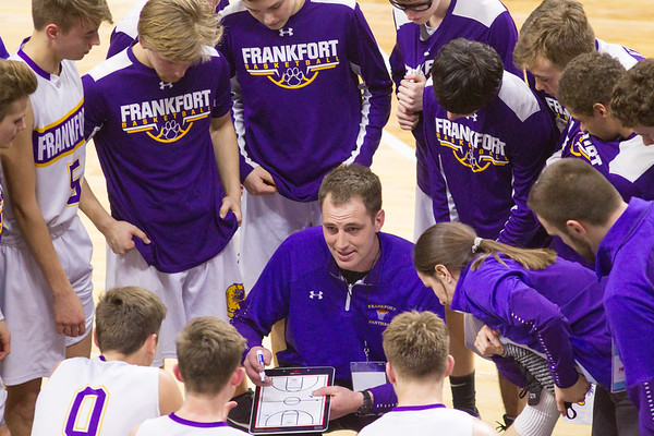 Record-Eagle/Brett A. Sommers Frankfort coach Dan Loney addresses his players during a timeout in Thursday's Division 4 state semifinal boys basketball game against Tri-unity Christian at the Breslin Center in East Lansing.