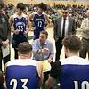 Oakmont Regional High School boys basketball played Leominster High School on Wednesday night, Feb. 5, 2020 in Ashburnham. Time out with LHS's head coach Kevin Grutchfield. SENTINEL & ENTERPRISE/JOHN LOVE