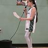Oakmont Regional High School boys basketball played Leominster High School on Wednesday night, Feb. 5, 2020 in Ashburnham. Singing the national anthem for the game is sixth grader Allison Flannery. SENTINEL & ENTERPRISE/JOHN LOVE