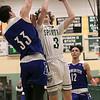 Oakmont Regional High School boys basketball played Leominster High School on Wednesday night, Feb. 5, 2020 in Ashburnham. ORHS's #3 Brandan Hulecki tries to get a shot by LHS's #33 Justin Dadah Jr. SENTINEL & ENTERPRISE/JOHN LOVE