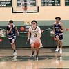 Oakmont Regional High School boys basketball played Leominster High School on Wednesday night, Feb. 5, 2020 in Ashburnham. ORHS's #3 Brandan Hulecki gets a breakaway following him down court is LHS's #11 Liam Connacher, #12 Brian Perez and #23 Derrick Thomas. SENTINEL & ENTERPRISE/JOHN LOVE