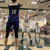 Oakmont Regional High School boys basketball played Leominster High School on Wednesday night, Feb. 5, 2020 in Ashburnham. ORHS's #23 Matt Arcangeli covers an inbound pass by LHS's #10 Jordan Hatch. SENTINEL & ENTERPRISE/JOHN LOVE