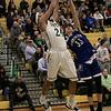 Oakmont Regional High School boys basketball played Leominster High School on Wednesday night, Feb. 5, 2020 in Ashburnham. ORHS's #24 Sharik Khan and LHS's #33 Justin Dadah Jr. go up for a rebound. SENTINEL & ENTERPRISE/JOHN LOVE