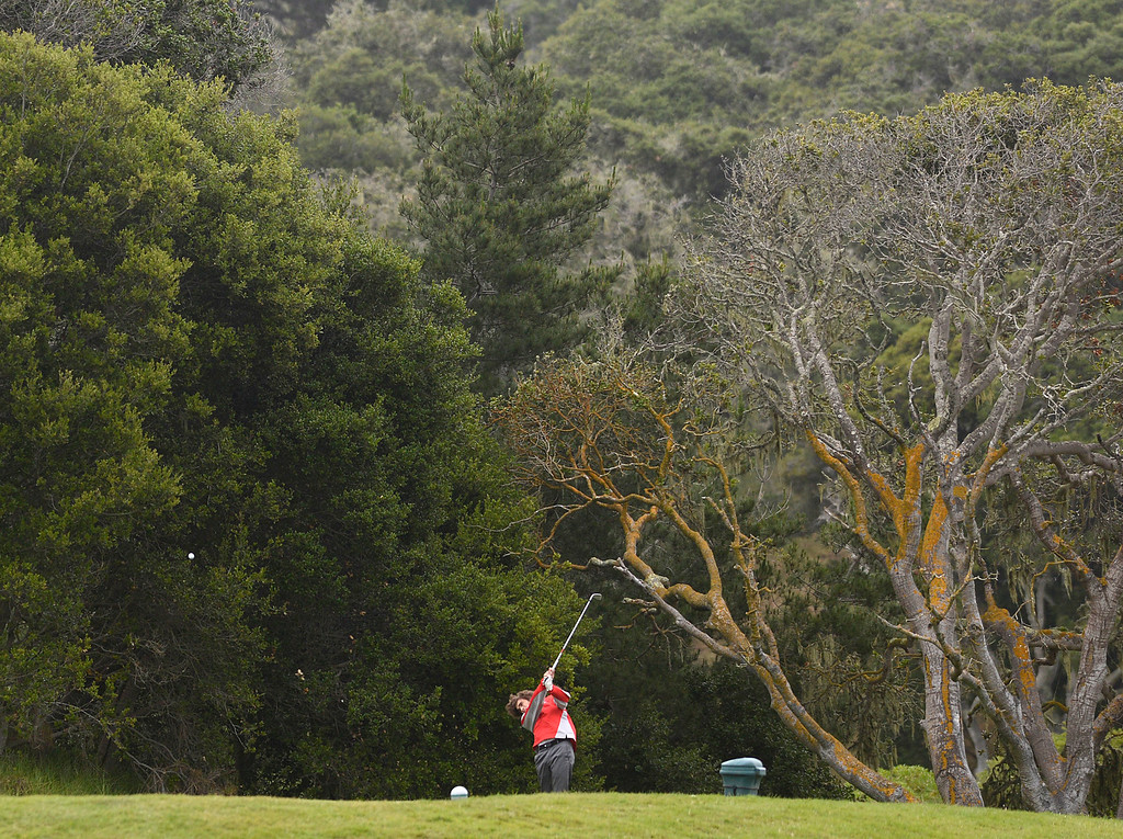 . Carmel\'s Zach Haines tees off on the second hole during the CCS Boys Golf Championship second regional at Laguna Seca Golf Ranch in Monterey on Wednesday May 10, 2017. (David Royal - Monterey Herald)