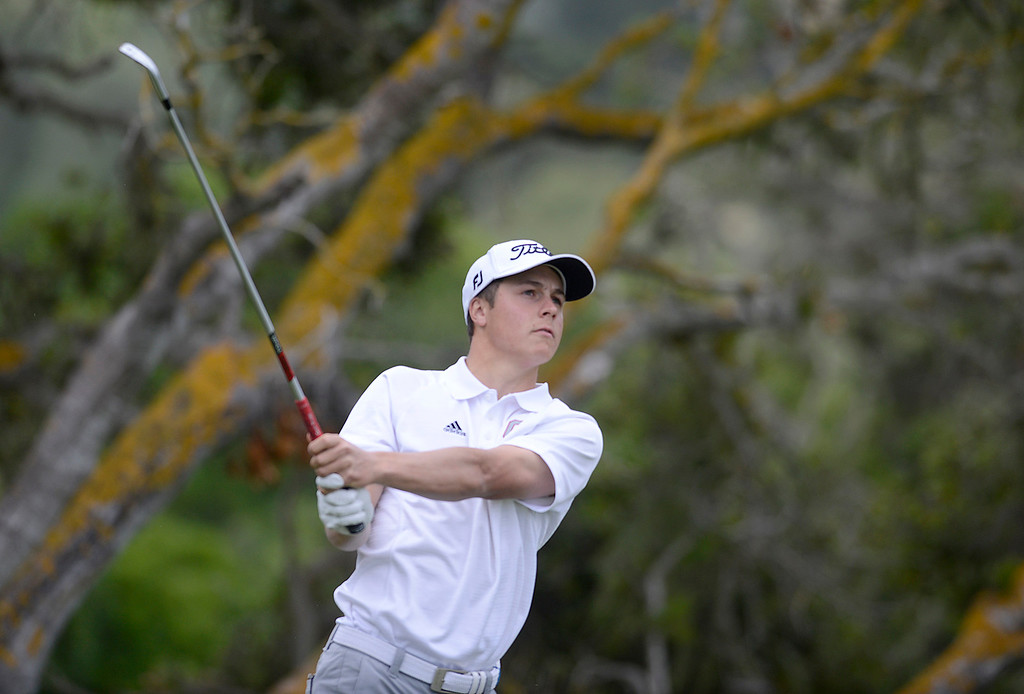 . Carmel\'s George McNeely tees off on the second hole during the CCS Boys Golf Championship second regional at Laguna Seca Golf Ranch in Monterey on Wednesday May 10, 2017. (David Royal - Monterey Herald)