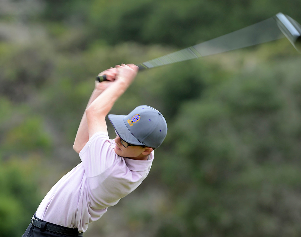 . Salinas\' Mason McCullough tees off on the first hole during the CCS Boys Golf Campionship second regional at Laguna Seca Golf Ranch in Monterey on Wednesday May 10, 2017. (David Royal - Monterey Herald)