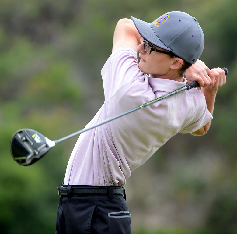 . Salinas\' Mason McCullough tees off on the first hole during the CCS Boys Golf Championship second regional at Laguna Seca Golf Ranch in Monterey on Wednesday May 10, 2017. (David Royal - Monterey Herald)