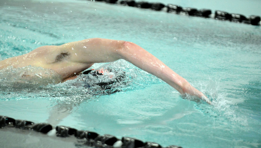 . Loveland\'s Ashton Lyon swims the freestyle leg of the 200-yard individual medley at the boys City Meet on Tuesday at the Mountain View Aquatic Center. (Mike Brohard/Loveland Reporter-Herald)