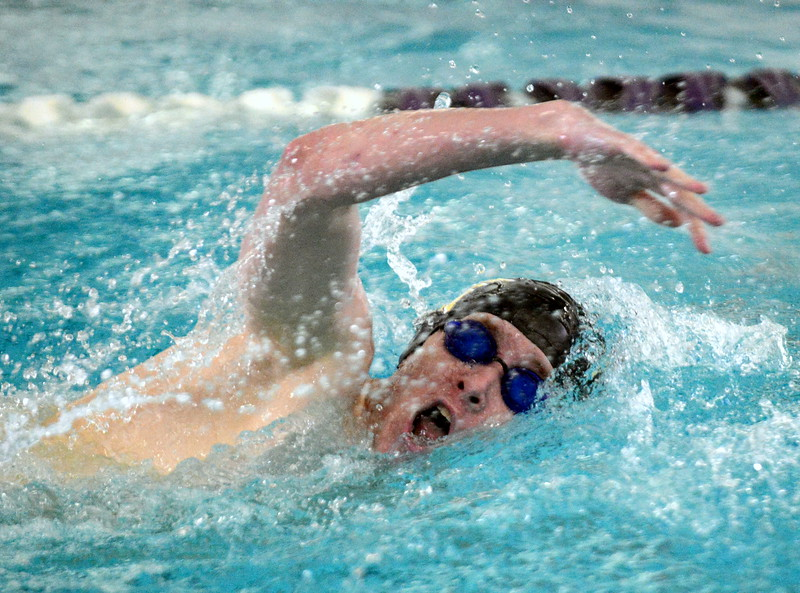 Thompson Valley's Jake Axelson swims to a second-place finish in the 200-yard freestyle the boys City Meet on Tuesday at the Mountain View Aquatic Center. (Mike Brohard/Loveland Reporter-Herald)