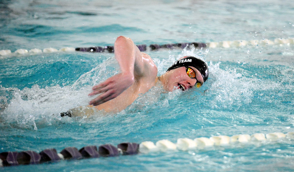 . Loveland\'s Jakob Borrman swims to a win in the 200-yard freestyle at the boys City Meet on Tuesday at the Mountain View Aquatic Center. Borrman also won the 100 free. (Mike Brohard/Loveland Reporter-Herald)