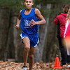 Leominster High School sophomore Jaydon Kinuthia came in fouth at the Leominster High School boys cross country meet against Fitchburg on Thursday afternoon at Barrett Park. SENTINEL & ENTERPRISE/JOHN LOVE