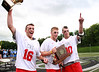 Redhawk captains Nevin DiParlo, Alex Bulla and Steele  Dubrul bring the hardware home to their teammates.