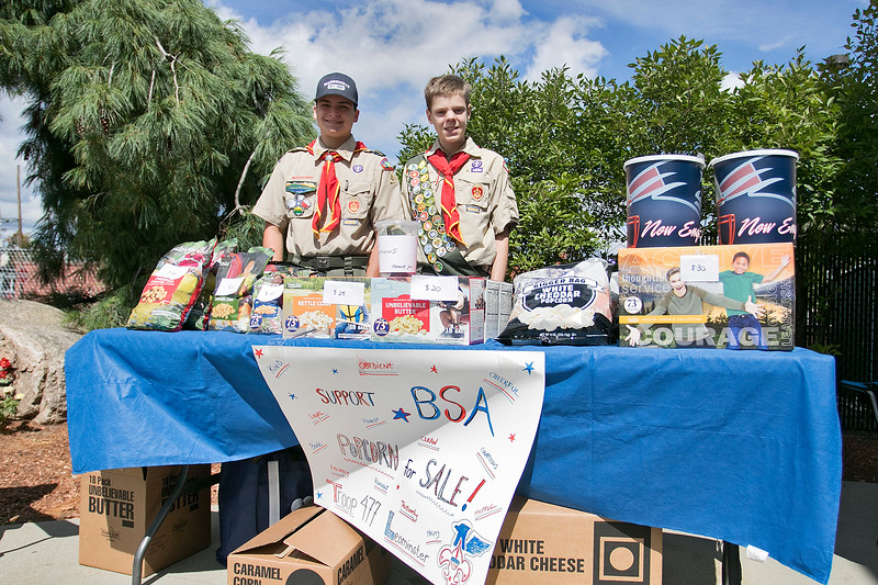 Boy Scouts Noah Trickett, 16 and ryan Doyle, 13, from Troop 477 sell popcorn at Wymans in Leominster to help raise money to support the Boy Scouts of America. SENTINEL & ENTERPRISE/JOHN LOVE