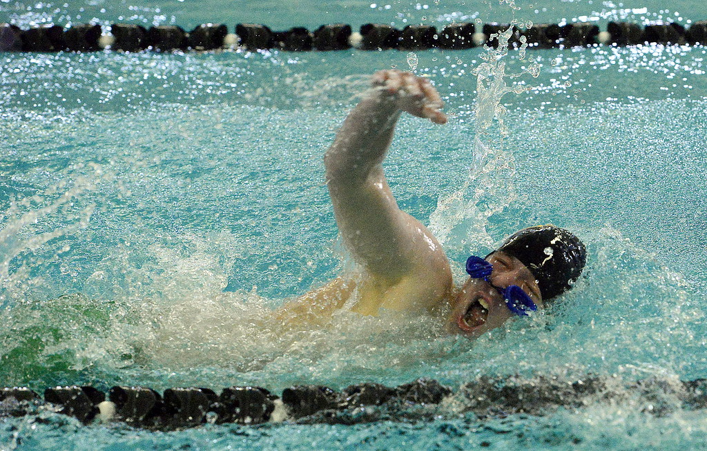 . Thompson Valley\'s Jake Axelson closes out the 200-yard freestyle with his goggles under his nose during the Mountain View Invitational on Saturday. He placed 14th in the event. (Mike Brohard/Loveland Reporter-Herald)