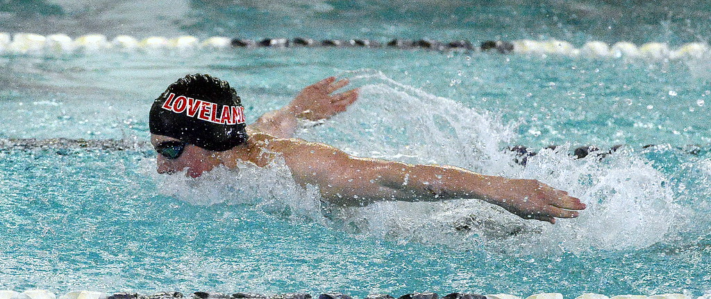 . Deven Gogarty swims the butterfly leg of the 200-yard medley relay for Loveland at the Mountain View Invitational on Saturday. The Indians placed fifth in the race. (Mike Brohard/Loveland Reporter-Herald)
