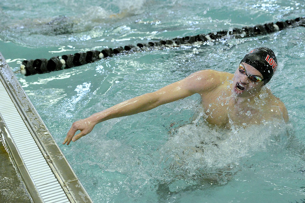 . Ashton Lyon hits a breaststroke turn during the 200-yard individual medley during the Mountain View Invitational on Saturday. Lyon placed fifth in 2:08.74. (Mike Brohard/Loveland Reporter-Herald)