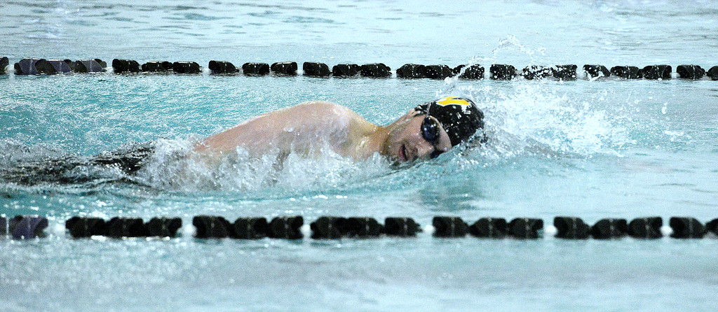 . Ben Smith swam the 500-yard freestyle to make a clean-sweep of state cuts on the season. The Thompson Valley junior wound up winning the race with a time of 4:56.69. (Mike Brohard/Loveland Reporter-Herald)