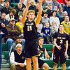 Record-Eagle/Brett A. Sommers Glen Lake's Drew Peterson shoots a 3-pointer during Monday's boys basketball regional semifinal against McBain at Houghton Lake High School. Glen Lake won 66-32.