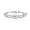 1.87ctw Diamond and Pink Sapphire Art Deco Inspired Bracelet 0