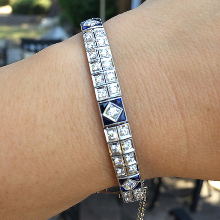 3.25tcw Art Deco Old European and Sapphire Platinum Bracelet