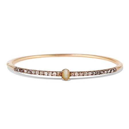 Antique Chrsoberyl Cat's Eye and Diamond Bangle