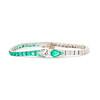 Art Deco Old European Cut Diamond and Emerald Bracelet