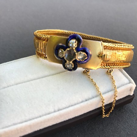 Victorian Diamond and Enamel Fancy Mesh Bracelet