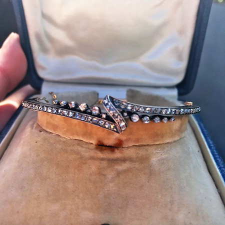 Victorian Rose Cut Diamond Bangle